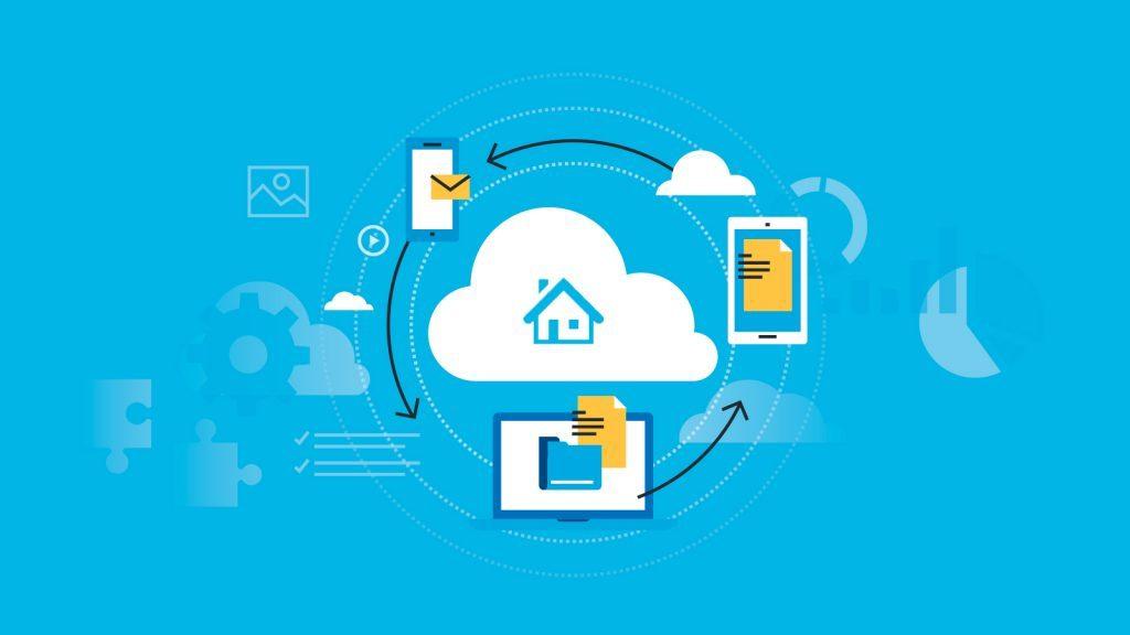 Ilustração sobre serviços na nuvem