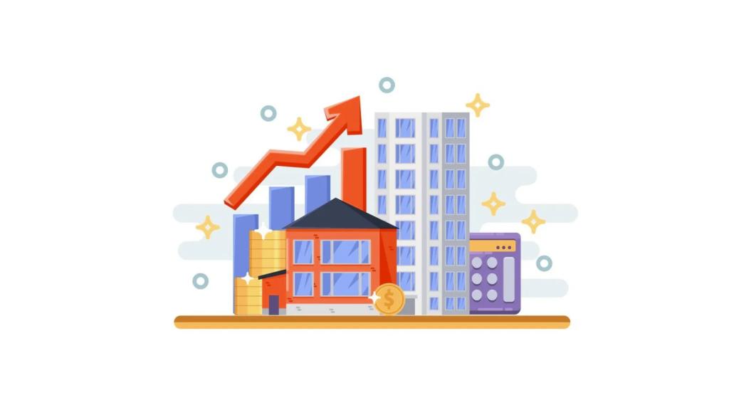 Ilustração que remete ao crescimento do mercado imobiliário com base em dados.